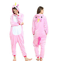 Пижама Кигуруми Единорог розовый микрофибра (велсофт)