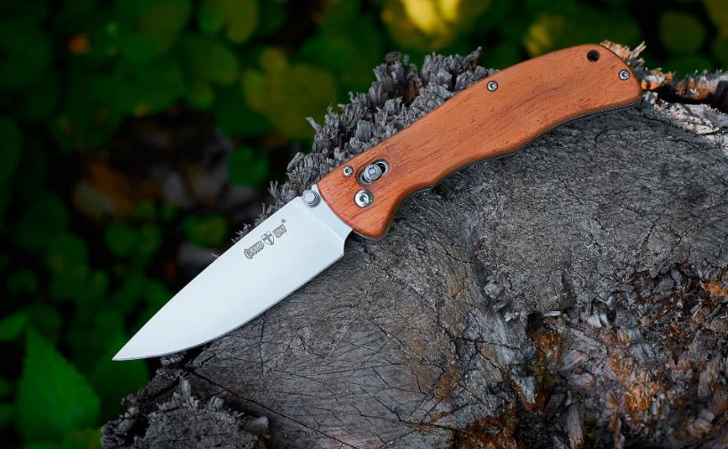 Нож складной, с деревянной рукояткой, дополнительно легированной молибденом и ванадием, теплый на морозе