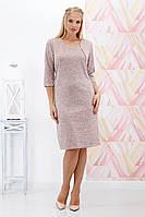 Платье большого размера Вероника ангора пудра 60-62 р