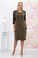 Платье большого размера Вероника ангора хаки 52-62 р