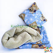 Теплое детское одеяло + подушка в кроватку / манеж - детское одеяльце на овчине для новорожденных 100х135 см