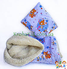 Теплое детское одеяло + подушка в кроватку / манеж - детское одеяльце на овчине для новорожденных 100х135 см, фото 2