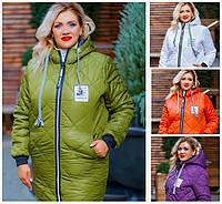 Батал до 62р Зимняя стеганая куртка с капюшоном 20138, фото 1