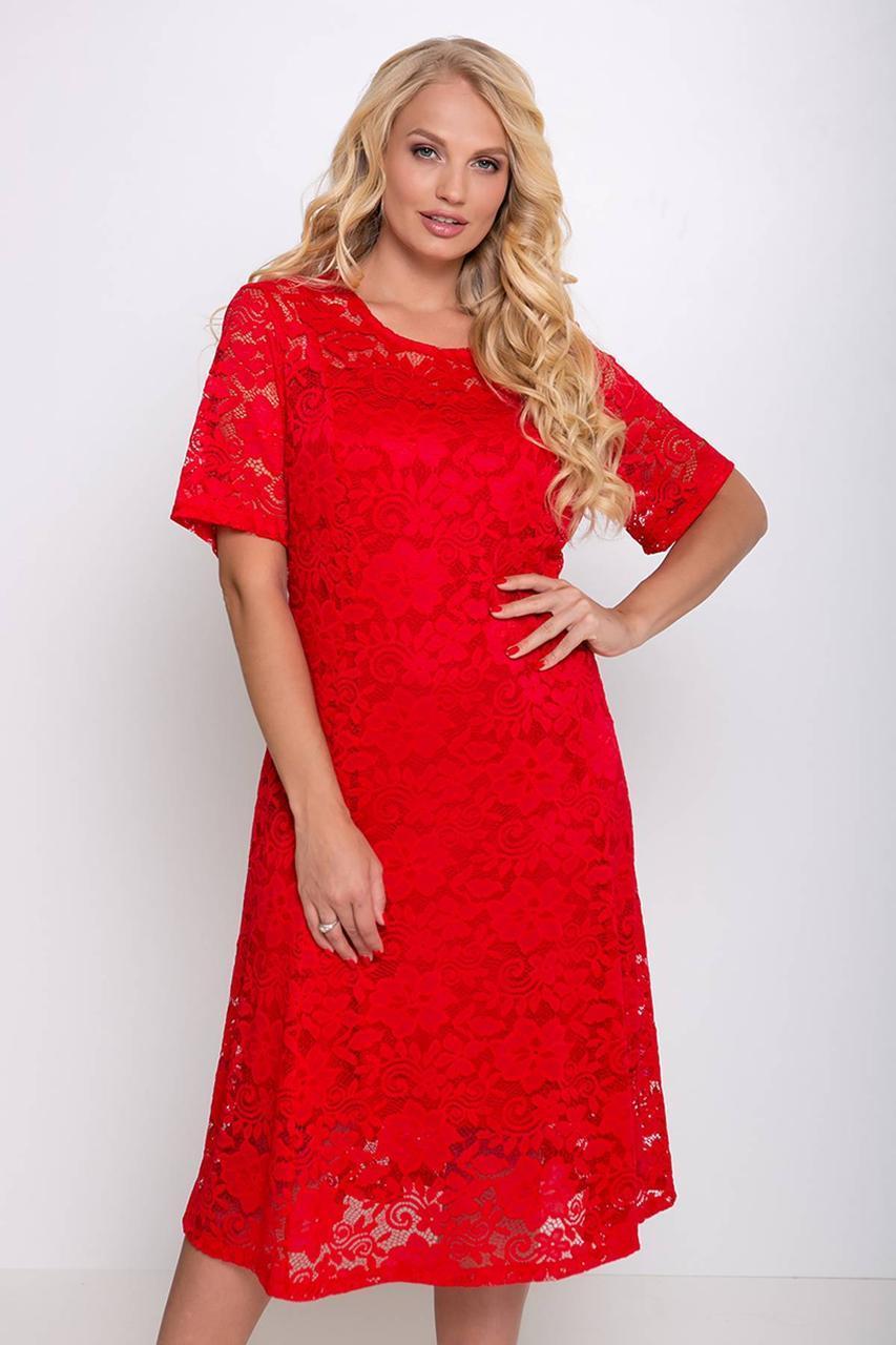 Нарядное женское платье из гипюа больших размеров с 54 по 62 размер