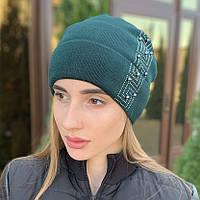"""Женская шапка """"Diana"""" со стразами зеленый"""