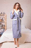 Женские длинные махровые халаты молочный капюшон, Турция