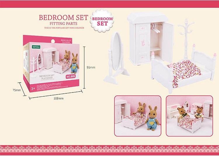 Белая спальня с кроватью (аналог Sylvanian Families), для ЛОЛ