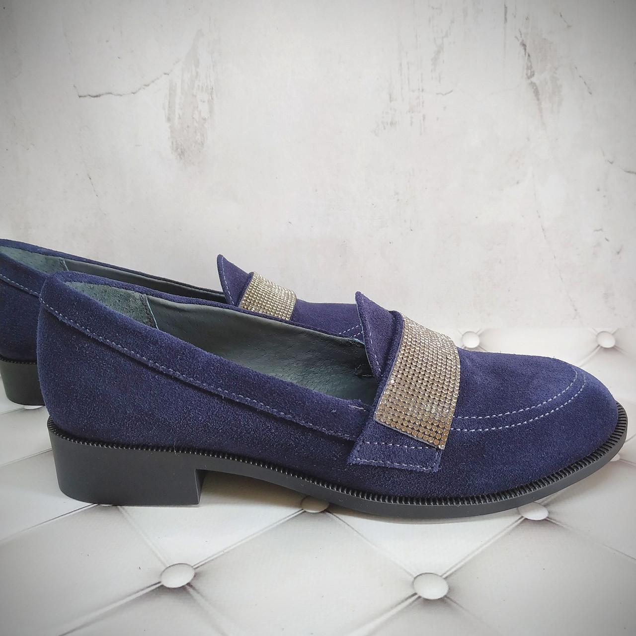 Туфли в замше синей