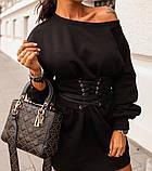 Туника женская с поясом.  Цвета: чёрный, белый , красный, фото 7