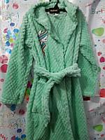 Халат детский махровый для девочки бирюзовый, 6-8 лет (134 см.)