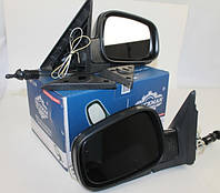 Зеркало наружное Волга 31105 с указателем поворота, регулируемые, комплект (черный металлик) (Truckman)