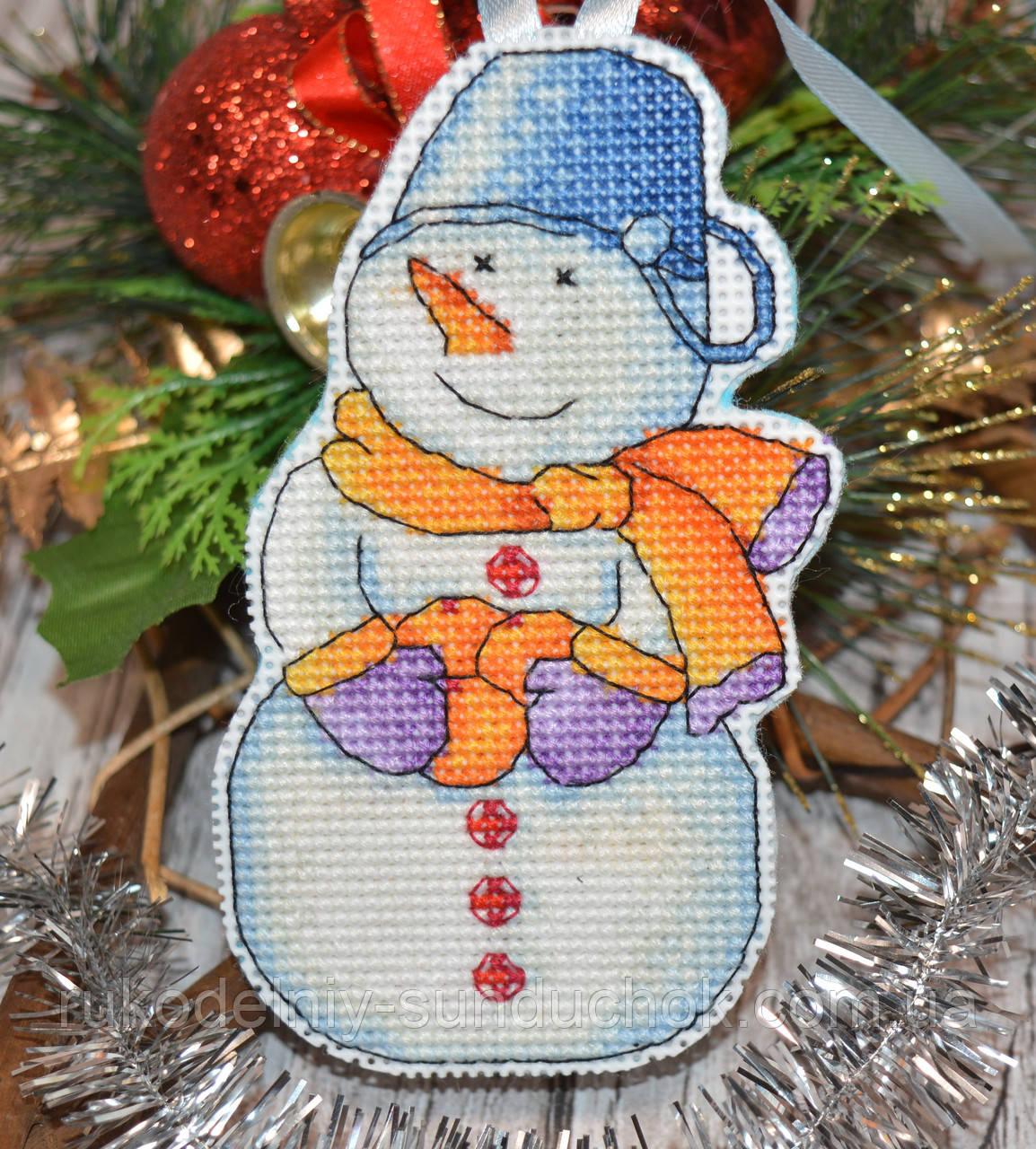"""Набор для вышивки ёлочной игрушки """"Снеговик с мандаринами"""""""
