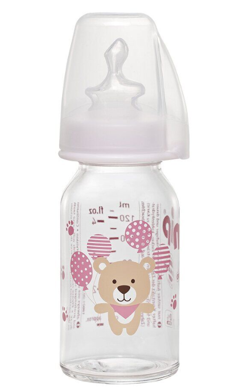 Бутылочка стеклянная антиколиковая Nip Мишка 125 мл, розовая