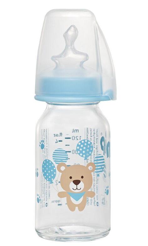 Бутылочка стеклянная антиколиковая Nip Мишка 125 мл, синяя
