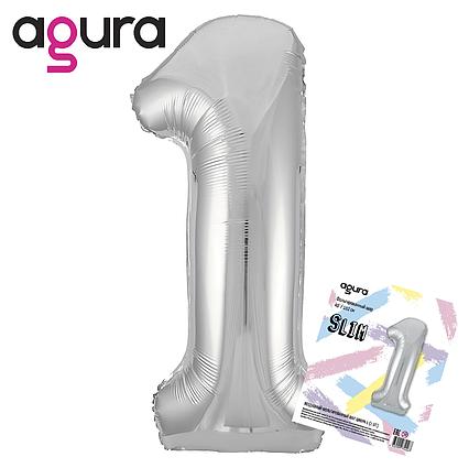 Фольгированный шар  цифра 1 SLIM слим  серебро  AGURA 102 СМ (40''), в индивидуальной упаковке