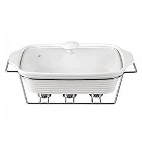 Мармит Kamille Food Warmer керамический 2,4л d 33 см с подогревом KM-6403 прямоугольный