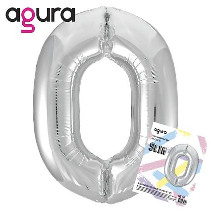 Фольгированный шар  цифра 0,  SLIM слим  серебро  AGURA 102 СМ (40''), в индивидуальной упаковке