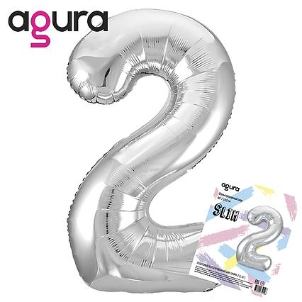 Фольгированный шар  цифра 2,  SLIM слим  серебро  AGURA 102 СМ (40''), в индивидуальной упаковке