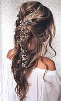 Нить для волос с жемчугом и камнями 0,5м, фото 1
