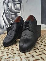 Туфли броги мужские черные кожаные, фото 1