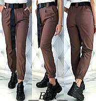 Стильные модные женские джинсовые брюки штаны джинсы с поясом кофейные S-M (42-44) L-XL (46-48), фото 1