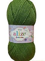 Детская пряжа(100%-акрил,100г/320м) Alize Sekerim bebe 210(зелёный)