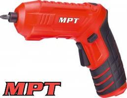MPT  Отвертка аккумуляторная поворотная 4V, Li-ion, 1.5 Ач, 250 об/мин, 3.5 Нм, реверс, USB, аксес. 10шт, Арт.: MCSD4006.1