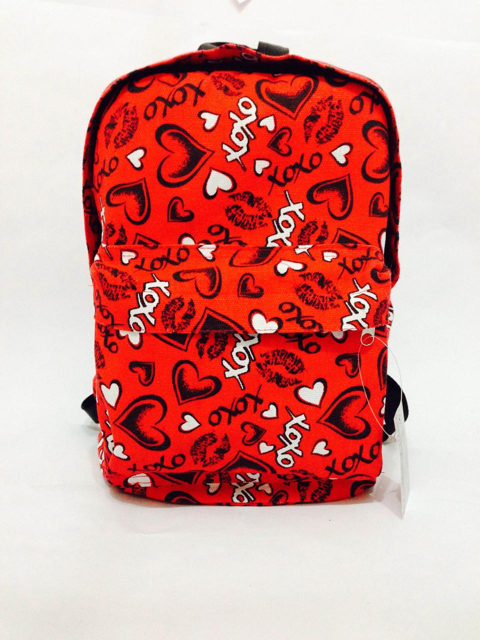 """Рюкзак-красная с черными сердцами """"ХОХО"""""""