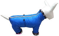 Комбинезон зимний для собак, синий, размер 8.