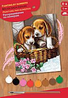 Картина по номером Щенки в корзине Sequin Art SA1042