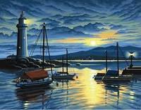 Картины раскраски по номерам цифрам Набор для творчества Гавань на рассвете Sequin Art SA0427