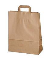 Пакет бумажный крафт с прямыми ручками, 260х140х340 мм, 90 г/м2, 25 шт/уп