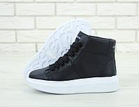 Кроссовки женские Alexander McQueen Oversized Sneakers реплика ААА+ (нат. кожа) р. 36-40 черный (живые фото), фото 1