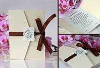 Пригласительные на свадьбу с дизайнерской бумаги для шоколадной свадьбы