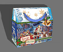 Упаковка праздничная новогодняя из металлизированного картона Санта, от 1 штуки