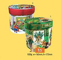 Новогодний подарочный тубус для конфет и сладостей 1000гр №Т/5 50шт/ящ КД.