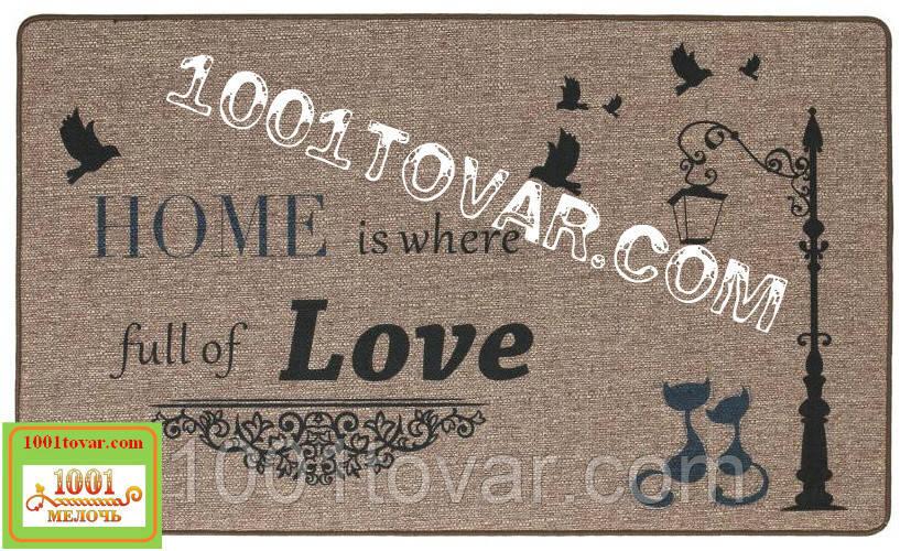 """Придверні килимок з льону на гумовій основі """"HOME is were full of LOVE"""" (Будинок сповнений любові) 75х45х0,5 див."""