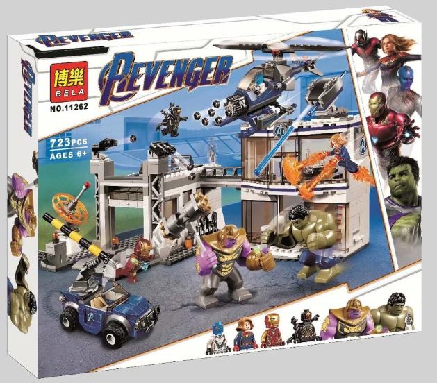 Конструктор Bela 11262Битва на базе Мстителей. Супергерои (Аналог Lego Super Heroes 76131)