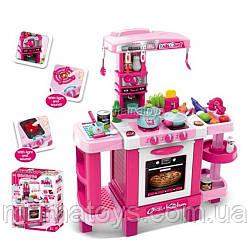 Детская игровая Кухня 008-938 Малиновая Высота 87 см свет, звук, посуда, продукты, кофемашина, 2 вида