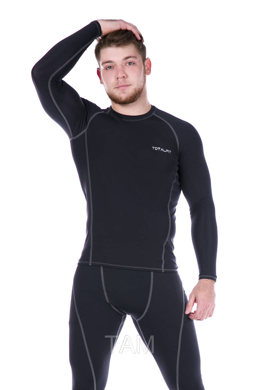 Рашгард мужской Totalfit RM4-Y79 XL Черный, Серый