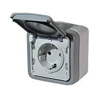 Розетка электрическая (накладная) 2К + З, 16А, 250В , ИР55, ИК07 со шторками и крышкой, безвинтовые зажимы (н