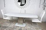 Обеденный раскладной стол HOUSTON (Хьюстон) 130/190*105 белый матовое стекло Nicolas (бесплатная доставка), фото 5