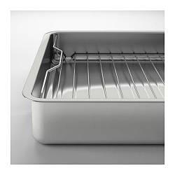 ИКЕА (IKEA) КОНСИС, 100.990.53, Форма для печи с решеткой, нержавеющ сталь, 40x32 см - ТОП ПРОДАЖ