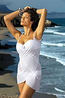 Пляжное платье-парео из шифона белое