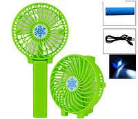 Портативный мини вентилятор Mini Fan 820 USB с ручкой и настольный со складной ручкой аккумуляторный Зеленый