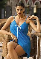 Пляжное платье-парео из шифона ярко голубой, фото 1
