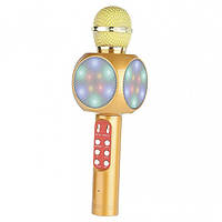 Детский беспроводной аккумуляторный караоке микрофон Wster с колонкой Bluetooth со светодиодной подсветкой Золотой (WS-1816)