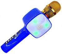 Детский беспроводной аккумуляторный караоке микрофон Wster с колонкой Bluetooth в чехле Синий (L20)