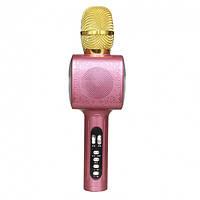 Детский беспроводной аккумуляторный караоке микрофон Wster с колонкой Bluetooth в чехле Розовый (L20)