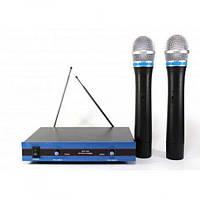 Радиосистема DM комплект караоке на 2 беспроводных микрофона Чёрно-синяя (EW-100)